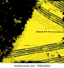 Yellow grunge background with black tire track. eps10