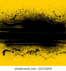 Yellow grunge background with ink blots. eps10