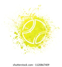 Yellow grunge ink blots splash with white outline tennis ball silhouette
