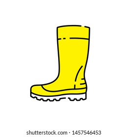 Yellow gumboots line icon. Wellingtons symbol. Wellies boot sign. Vector illustration.