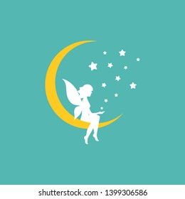 Yellow half moon and white stars and fairy. Magic, fantasy. Isolated on powder blue. Flat design. Vector illustration. Fairytale logo.