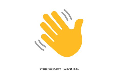 Yellow hand waving. Hand gesture. Icon. Vector isolated symbol on white background.