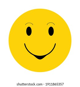 Yellow happy face with smile.