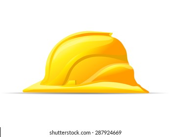 yellow hard hat safety symbol vector icon