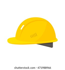 yellow hard hat worker safety. flat vector illustration isolated on white background