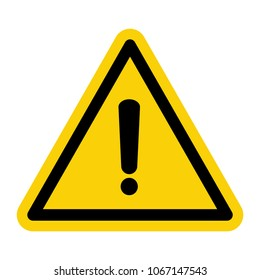 Yellow hazard warning mark. Danger warning attention sign, caution sign isolated vector illustration