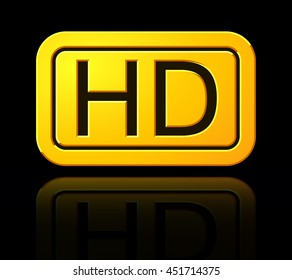 Yellow HD Label. Widescreen TV Sign Icon. 1080p Symbol