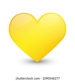 Yellow Heart Emoji Icon Object Symbol Gradient Vector Art Design Cartoon Isolated Background
