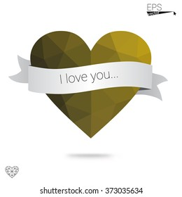 Yellow heart isolated on white background. Geometric rumpled triangular low poly origami style gradient graphic illustration. Vector polygonal design for your business.