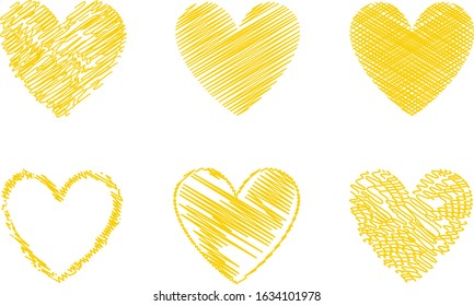 Yellow heart vector. Hand drawn love icon isolated. Collection of heart icon hand drawn vector for love logo, heart symbol, doodle icon, greeting card and Valentine's day. Painted grunge vector shape