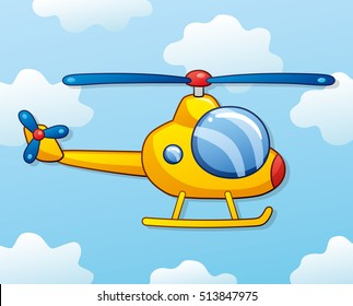 Yellow helicopter on a sky background.