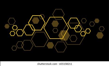 Yellow Hexagon on dark Background Vector.