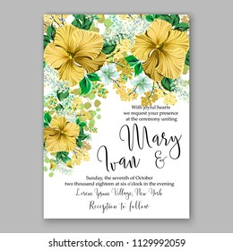 Yellow hibiscus tropical Floral wedding invitation vector printable card template