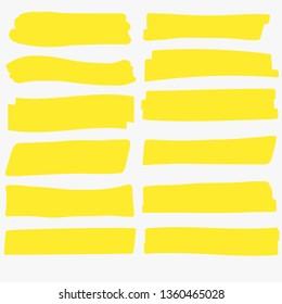 Yellow highlight marker. Brush lines. Highlighter Marker pen underline strokes, hsnd drawing design. Vector