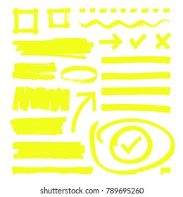 Yellow highlighter lines, arrows and frame boxes with grunge texture isolated vector stock. Sketch hand line and highlighter yellow illustration