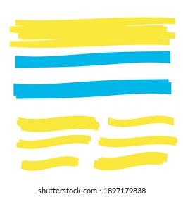 Yellow highlighter marker illustration. Brush pen underline. Yellow watercolor hand drawn highlight