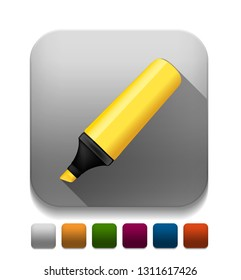 yellow highlighter pen  With long shadow over app button
