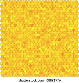 Yellow honeycomb hexagon vector background. Seamless pattern.