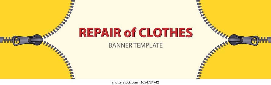 Yellow horizontal banners with empty place for text. Open zipper lock on white background. Narrow banner templates for your projects.