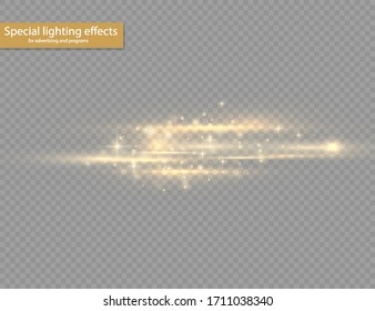 Yellow horizontal lens flares pack. Laser beams, horizontal light rays. Beautiful light flares. Glowing streaks on transparent background. Bright gold glares. Vector illustration, EPS 10.