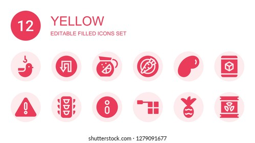 yellow icon set. Collection of 12 filled yellow icons included Duck, Traffic signal, Lemonade, Carrot, Jelly beans, Warning, Traffic light, Information sign, Offside, Pineapple
