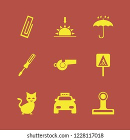 yellow icon. yellow vector icons set pedestrian sign, whistle, screwdriver and paper clip