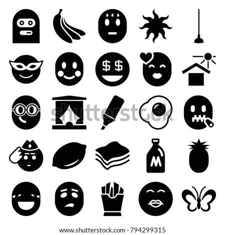 Yellow icons set of