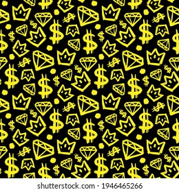 Yellow ink dollars, crowns and diamonds isolated on black background. Cute seamless pattern. Vector simple flat graphic hand drawn illustration. Texture.