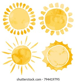 Yellow ink shiny weather sun set vector illustration watercolor style
