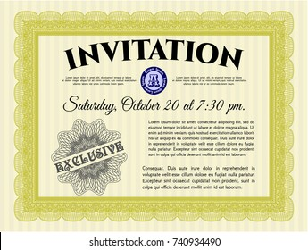 Yellow Invitation. With complex background. Customizable, Easy to edit and change colors. Money style design.