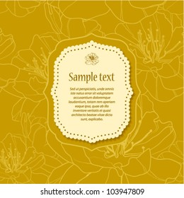 Yellow invitation or greeting card with stylish floral background in retro style. (vector)