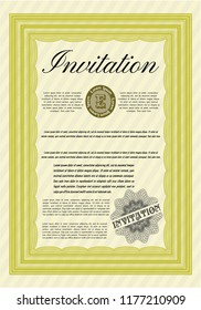 Yellow Invitation template. Modern design. Customizable, Easy to edit and change colors. With guilloche pattern and background.