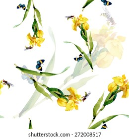 Yellow iris flowers with butterfly and bee watercolor seamless pattern on white background vector illustration