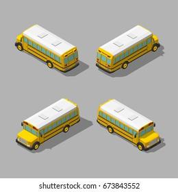 Yellow isometric 3d school bus. Flat style vector illustration