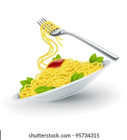 Yellow italian pasta spaghetti in the white plate with fork. Vector illustration isolated on white background