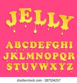 Yellow jelly alphabet. Glossy letterhead design. Vector honey letters