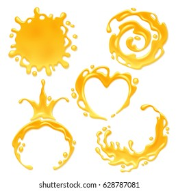 Yellow juice or honey blots set. Sweet smudges splashes drops on white background. Spiral round and abstract curves forms.