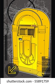 Yellow jukebox graphic design template.