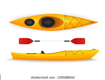 Yellow kayak, with top and side viewsisolated on white background.