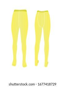 Yellow kids pantyhose. vector illustration