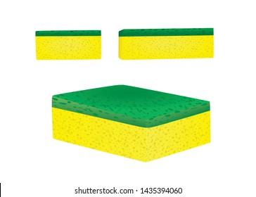 Yellow kitchen sponge. vector illustration