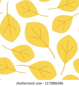 Yellow leaves pattern on white background. Seamless pattern vector