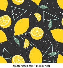 Yellow lemon seamless pattern with triangles on black background. Vector illustration.