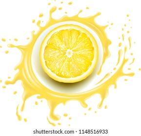 Yellow lemon slice with splash and many juice drops