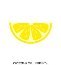 Yellow lemon slice vector illustration isolated on white background.