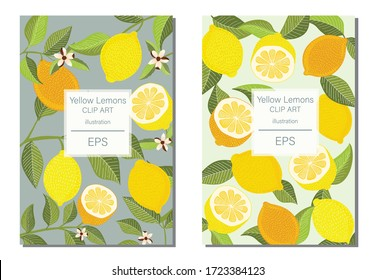 Yellow Lemons & Foliage clip art ull of fresh yellow Lemon fruit illustrations, this collection is perfect for easy design of wall art,