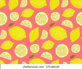 Yellow lemons on pink background. Seamless pattern, vector texture.