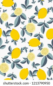 Yellow lemons on white background. Tropical fruit. Citrus seamless pattern. Fashionable print in bright pastel colors. Wallpaper. Hand vector illustration. Modern design