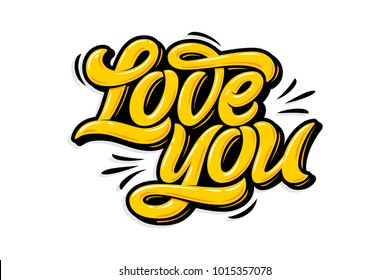 Yellow Letters Love You On White Isolated Background Modern Calligraphy In The Style Of Graffiti