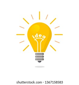Yellow Light bulb flat icon with rays shine. Energy and idea symbol isolated on white background. Vector Illustration